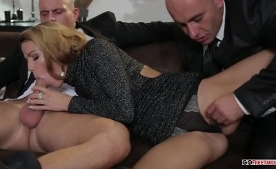 Samantha Joons in j strokes threesome While An Old Man Watches