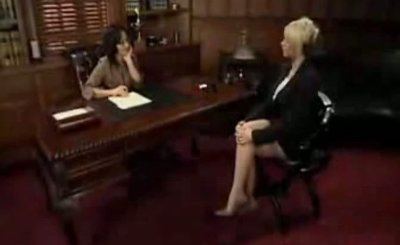 Sandra Romain and Brooke Haven strapon lesbian fuck in office