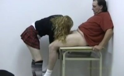 Schoolgirl sucks and handjobs her professor's cock
