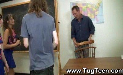 schoolgirls give handjobs after class