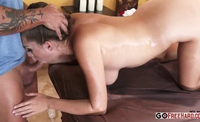 Sexy brunette Alex Chance with natural big tits fucked after oily massage