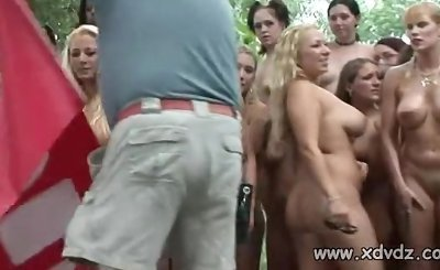 Sexy Girls Have Fun In The Woods Stripping Naked And Playing Games