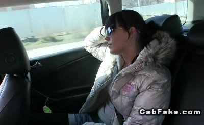 Shaved cunt amateur cold nips banged pov in a fake taxi