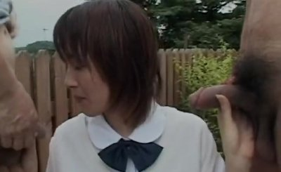 Slim flat chest schoolgirl blows 2 Asian cocks in public