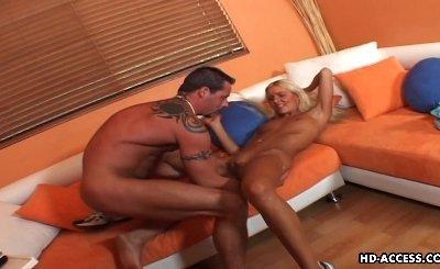 Slim chick receives a big veiny schlong