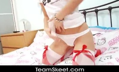 SoloInterviews Young schoolgirl Jess West strip tease finger mast
