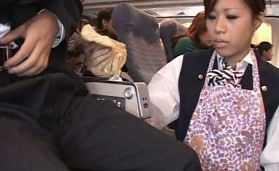 Stewardess has to give Handjob in a plane