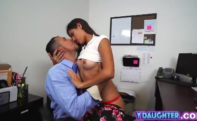 Stepdaughter office reverse cowgirl babe big cock
