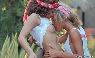 Stunning lesbians making out outdoor part3
