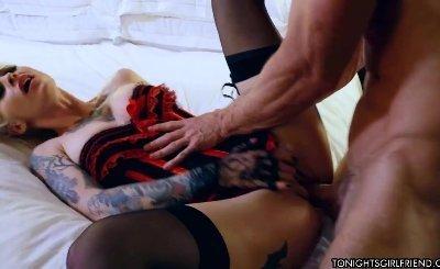 Tattooed blonde Kleio Valentien fucked at hotel room by Johnny Sins