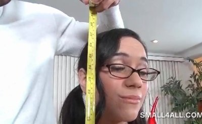 Teen minx in glasses loves taking large dick in mouth