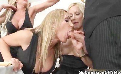 Three horny blonde whores sucking
