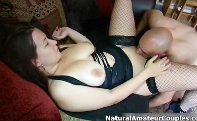 Thick brunette girl gets her tight pussy fucked by her amateur boyfriend by