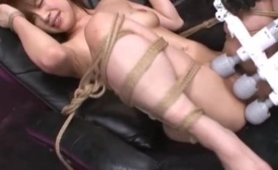 Tied Oriental girl pounded hard with fuck machine and hitachi magic wands