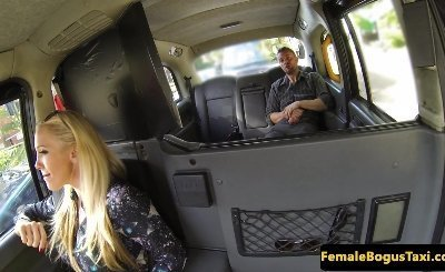 Titfucking female taxi driver sucking balls
