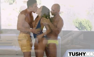 big cock pool boys fucks Megan Rain Double Penetration