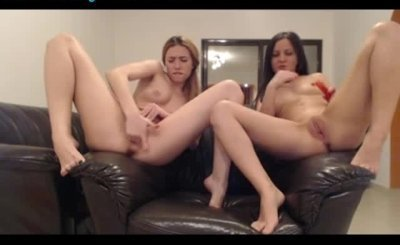 Two Hot Lesbians Masturbating Together