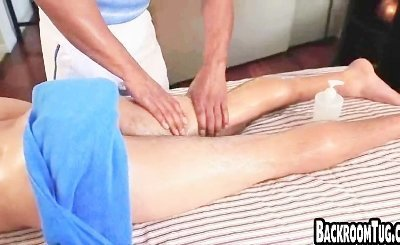 Twink massaged and handjob by black guy