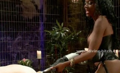 Two white man slaves tought how to bondage by black busty delicious mistress in dominatrix video