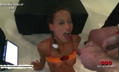 Young Bukkake whore is the ultimate cum drinking machine