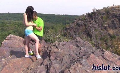 Young babe has her pussy creamed outdoors
